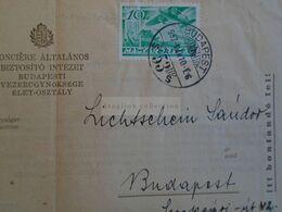 ZA303.20  Hungary  Fonciere Insurance Cheque Sent Via Post 1937  Budapest - Lichtschein - Assegni & Assegni Di Viaggio