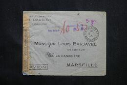 MADAGASCAR - Taxe De La Poste Aérienne De Tananarive Sur Enveloppe Pour Marseille En 1945 Avec Contrôle - L 69078 - Covers & Documents