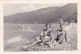 Woman Little Boys Teen Guy Beach Children Summer Rest Garçons Femme Old Photo Snapshot Swimsuit - Anonymous Persons