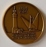 Médaille Bronze. 175e Anniversaire De L'entrée De Genève Dans La Confédération. 1814-1989. Huguenin - Wälti - Professionals / Firms