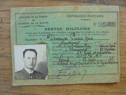 BREVET MILITAIRE (permis De Conduire) Lt Pierre Devaux 1935 Motocyclettes Et Camion - Documents