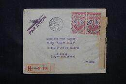 MADAGASCAR - Enveloppe Commerciale En Recommandé De Majunga Pour La France En 1945 Avec Contrôle Postal - L 69088 - Covers & Documents