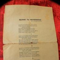"""WW1-MILITARIA CHANSON DU POILU SUR L'AIR DU TEMPS DES CERISES """"QUAND TU REVIENDRAS""""DE LA GRANDE GUERRE - Dokumente"""