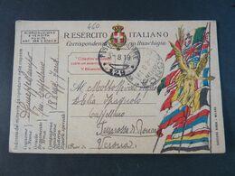"""460 ITALIA Regno -1919- Storia Postale """"Franchigia"""" P.M. 129 USº (descrizione) - Zonder Portkosten"""
