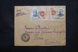 MADAGASCAR - Enveloppe De Maroantsetra Pour Paris En 1950 Par Avion, Affranchissement Recto / Verso  - L 69105 - Covers & Documents