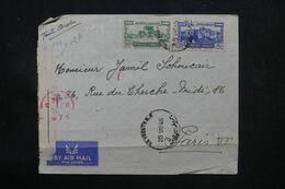 LIBAN - Enveloppe De Beyrouth Pour Paris En 1945 Avec Contrôle Postal, Affranchissement Recto Et Verso - L 69112 - Lettres & Documents