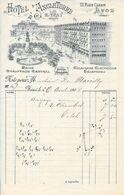 1908 - HOTEL D'ANGLETERRE 21, Place Carnot LYON (Perrache) E. VRAY Propriétaire - Bains - Eclairage Electrique - 1900 – 1949