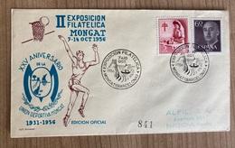Spain 1956 Franco Filatelic Exposition Basketball Philatelic Exposition Montgat Barcelona - 1951-60 Cartas