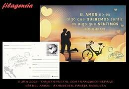CUBA. ENTEROS POSTALES. TARJETA POSTAL FRANQUEO PREPAGO. 2020 DÍA DEL AMOR. ATARDECER. PAREJA. BICICLETA - Cuba