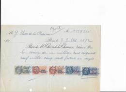 Reçu De 1952 Pour La Somme De 1.159.200 Francs Avec 5 Timbres Fiscaux Dont 1 De 1000 Francs - Revenue Stamps