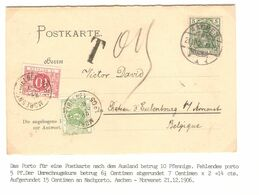 REF1655/ TP Germania 5 C.Aachen 21/12/1905 Taxed 0,15 > Moresnet Taxée 15c TTx 3-5 C.Moresnet Hunting Party Invitation - Portomarken