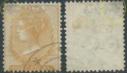 1863-81 MALTA USED SG 4 1/2d DEFECTIVE - RD1-7 - Malte (...-1964)