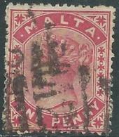 1885-90 MALTA USED SG 22 1d - RD4-5.4 - Malte (...-1964)