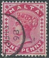1885-90 MALTA USED SG 22 1d - RD4-5.7 - Malte (...-1964)