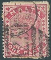 1885-90 MALTA USED SG 22 1d - RD4-5.15 - Malte (...-1964)