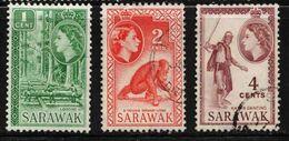 SARAWAK Scott # 197-9 Used - QEII & Various - Sarawak (...-1963)