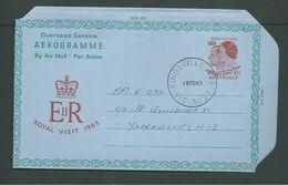 Australia 1963 Royal Visit Aerogramme Fine Used Kingsville Victoria Favour Cancel - Aerogrammes