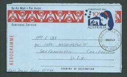 Australia 1964 Christmas Aerogramme Fine Used Kingsville Victoria FDI Cancel - Aerogrammes