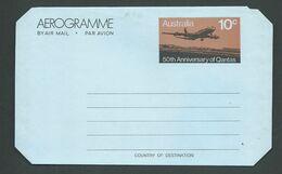 Australia 1970 Qantas Anniversary Aerogramme Unused - Aerogrammes