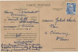 GANDON 12FR BLEU CARTE DE NANCY 1950  POUR HAUTE SAONE ANNULATION GRILLE DE POINTS - 1945-54 Marianne De Gandon