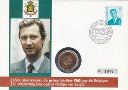 2 Scans Enveloppe Numérotée 2535 Roi Albert II  Pièce De Monnaie 20 Francs Belges - Numisletters