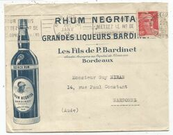 GANDON 6FR N°721A LETTRE ENTETE RHUM NEGRITA GRANDES LIQUEURS BORDEAUX 1948 - Storia Postale