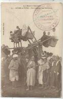 MAROC CARTE FETE INDIGENE LES BALANCOIRES CARTE + CACHET MILITAIRE BATAILLON INFANTERIE - Sellos Militares Desde 1900 (fuera De La Guerra)