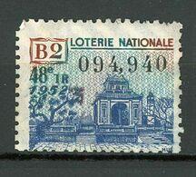 VIGNETTE DE BILLET DE LOTERIE NATIONALE - 48e Tirage Année 1952 - B2 (THEME L'ASIE) - Erinnophilie