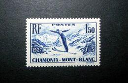 FRANCE 1937 N°334 ** (CHAMONIX-MONT-BLANC. CHAMPIONNATS DU MONDE DE SKI 1937. 1F50 BLEU-VIOLET) - France