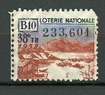 VIGNETTE DE BILLET DE LOTERIE NATIONALE - 38e Tirage Année 1952 - B10 (TONKIN) - Erinnophilie