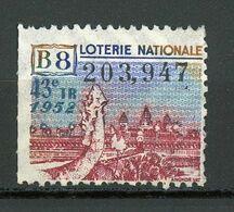 VIGNETTE DE BILLET DE LOTERIE NATIONALE - 43e Tirage Année 1952 - B8 (ANGKOR) - Erinnophilie