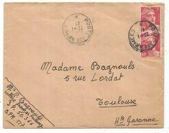GANDON 3FR PAIRE LETTRE POSTE AUX ARMEES 22.1.1947 + MENTION BPM 517 - 1945-54 Marianne De Gandon