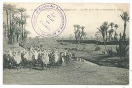 MAROC CARTE MARRAKECH + CACHET VIOLET SERVICE DES RENSEIGNEMENTS EL CHEF DU BUREAU CAMP CHRISTIAN 1913 - Cartas