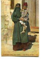 EGYPT - Egyptian Types And Scene  Arab Woman & Boy - Good Ethnic Costumes - LL Plaistow UK PM 1908 - Africa