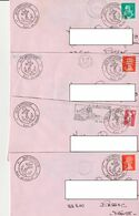 Lot 4 Lettres Avec Cachets Illustrés M/V Bretagne/Transports Marins Bretons/Roscoff + Timbres France/G.Bretagne/Espagne - Barcos