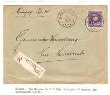 REF1659/ TP 322 Albert Képi S/L.Recommandée C.Moresnet 2/10/1936 > Neu-Moresnet C.d'arrivée 3/10/36 - Belgium