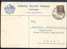 RD82 CANNERO , COMMERCIALE FABBRICA BERRETTI VITALIANA  1932 - Altre Città