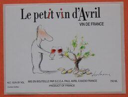 Etiquette Le Petit Vin D'Avril, Illustrée Par Le Célèbre Dessinateur J.P.Desclozeaux - Bordeaux