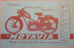 VERITABLE PUBLICITE ORIGINALE MOTAVIA - GNOME ET RHONE - VELOMOTEUR 98 Cm3 - MOTO - SCAN RECTO/VERSO - France
