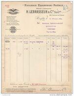 93 PIERREFITTE Sur SEINE FACTURE 1912 HUILERIE EQUZATEUR PHENIX  H. LEBRASSEUR & Cie  * S13 - 1900 – 1949