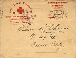 """1916 - Enveloppe En F M """" HOPITAL AUXILIAIRE N°101 Bd De Chateaudun 49 - AMIENS ( Somme )  CROIX ROUGE - Postmark Collection (Covers)"""
