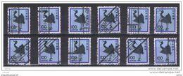 GIAPPONE:  1981  GRU  ARGENTATA  -  100 Y. OLTREMARE, BLU  E  NERO  US. -  RIPETUTO  12  VOLTE  -  YV/TELL. 1377 - 1926-89 Emperador Hirohito (Era Showa)