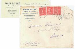 PORNICHET Lettre Entête FLEUR DE THE Launay Pension 50c Semeuse Rouge Yv 199 Ob 1927 Croisic Nantes Dest Anvers Belgique - Covers & Documents