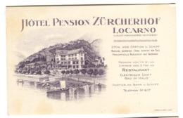 Locarno-Muralto, Hôtel Pension Zürcherhof Carte Publicitaire Env. 1906 - TI Tessin