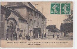 92 CHATENAY Restaurant Gouzy ,façade Avec Personnel ,Grande Rue Et Carrefour De La Fontaine Sainte Marie - Chatenay Malabry