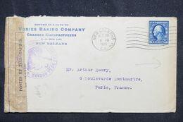 ETATS UNIS - Enveloppe Commerciale De New Orleans En 1915 Pour Paris Avec Contrôle, Vignette Au Verso  - L 69248 - Briefe U. Dokumente