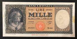 ITALIA 1000 Lire Italia Medusa 25 09 1961 Spl Traccia Di Nastro LOTTO 3344 - [ 2] 1946-… : Républic