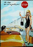 CPA Illustration Carrière Auto Stop Pin Up  Sac à Main     Années 60 - Carrière, Louis