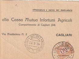 Mussolinia Di Sardegna.1933. Annullo Guller MUSSOLINIA DI SARDEGNA, Su Denuncia Di Sinistro, Con Segnatasse C. 50. BELLA - Impuestos