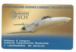 International SOS, Membership Card, # Airplane-8  NOT A PHONE CARD - Airplanes